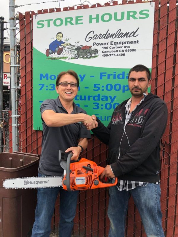 Juan Carlos Perez for winning a new Husqvarna 450 Rancher chainsaw and supporting Brian Santo's fight against cancer