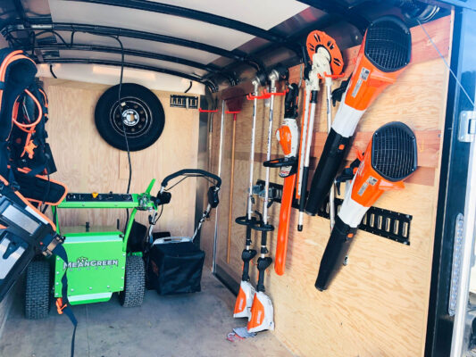 Enviro Views Landscape's Customized Trailer with cordless tools